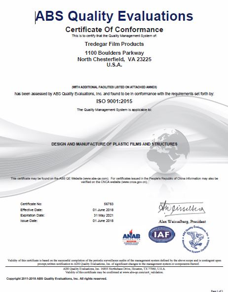 Download Tredegar Surface Protection Certifications